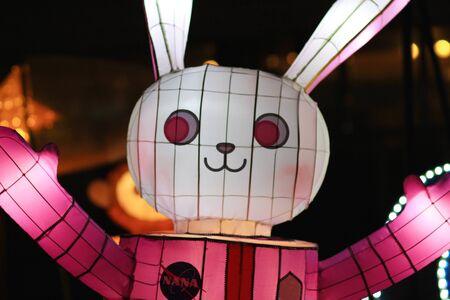 novel: novel Chinese lanterns light up celebrating LANTERN Festival Stock Photo