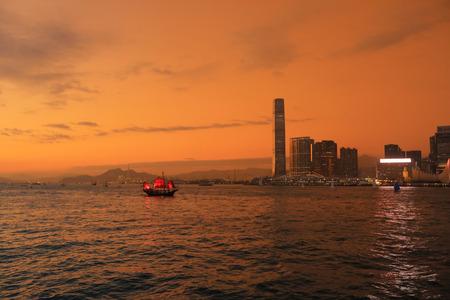 icc: the modern Hong Kong skyline near the Convention Center Stock Photo