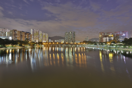 kong river: Sunset view of Shing Mun River with Christmas