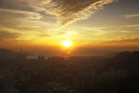 kowloon: Fei ngo shan (Kowloon Peak) cityscape skyline.