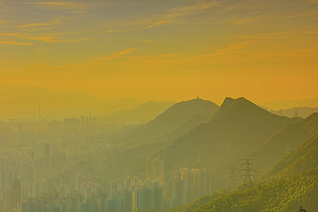 kowloon: the unset over Hong Kong as seen from Kowloon Peak