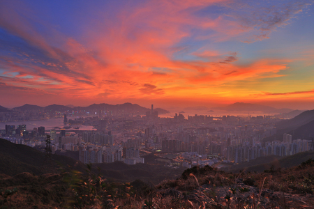 the unset over Hong Kong as seen from Kowloon Peak