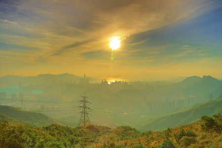 the Hong Kong as seen from Kowloon Peak Stock Photo