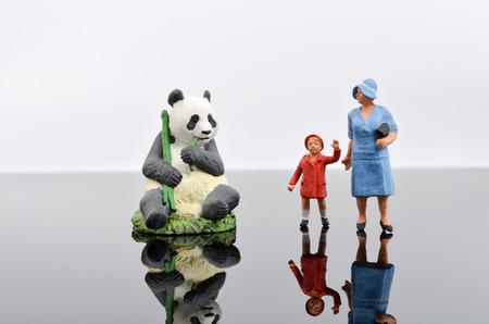 kinship: the figures. Retro toys. Family value. with panda