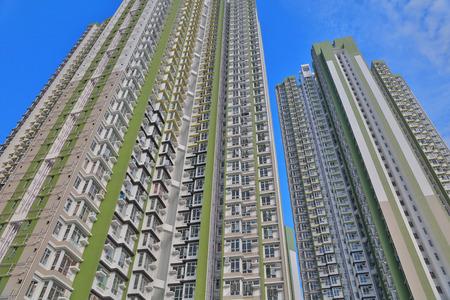 tat: Closeup architectural shot of Hong Kong public housing estate