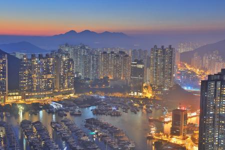 the Ap Lei Chau  at sunset 2017 Stock Photo