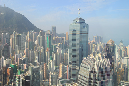 hk city, at sunny day, top view from China Resources Building Editöryel