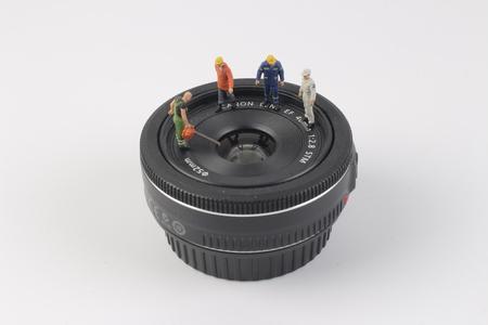 tiny lenses: the fun of figure in miniature world Stock Photo