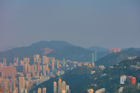 the skyline of Hong Kong from Victoria Peak.  2017