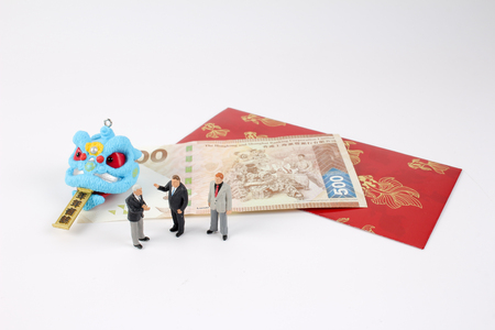 the chiness new year with red packet Stock Photo