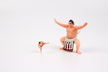 the figure of Sumo Wrestler with white board