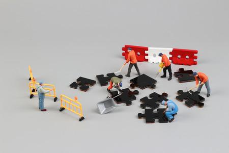 strategizing: the fun of figure in miniature world Stock Photo
