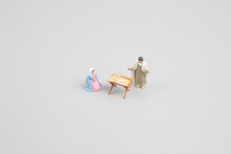 adoration: the Christmas Crib. Adoration of The Three Wise Men. Baby Jesus Stock Photo