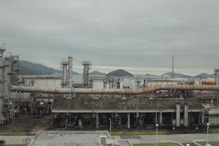 일본의 식용유 공장 건물의 외관