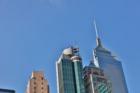 the Architecture of Wan Chai with Blue Sky Background -