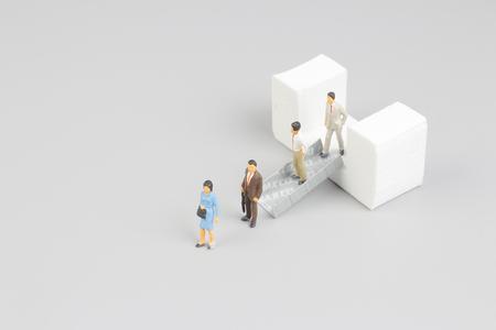 escalate: the figure of  escalators at the white board Stock Photo