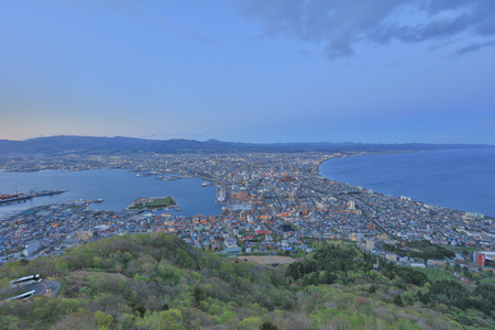 eventide: the famous night scenes in Hakodate Japan 2017 Stock Photo