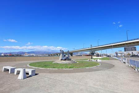 Monument near Ferry Memorial Ship museum Mashu maru in Hakodate, Hokkaido, Japan Editorial