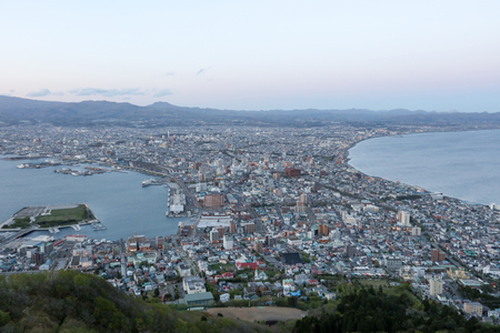 nightview: The view of Hakodate, Japan from Mt Hakodate .