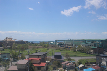 the view of train window from Sapporo to Hakodate