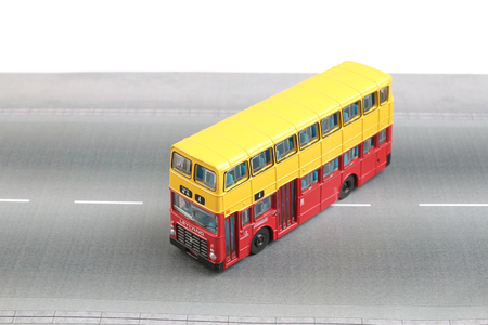 the Bus model isolated over a white background Stock Photo