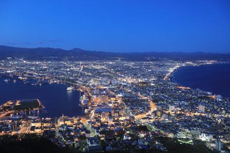 the famous night scenes in Hakodate, Hokkaido, Japan