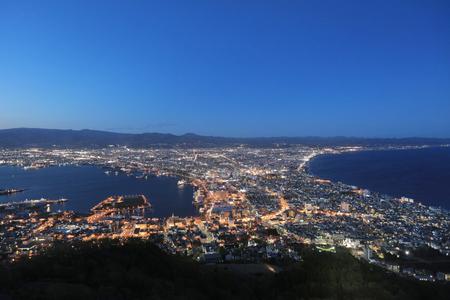 magic hour: the famous night scenes in Hakodate, Hokkaido, Japan