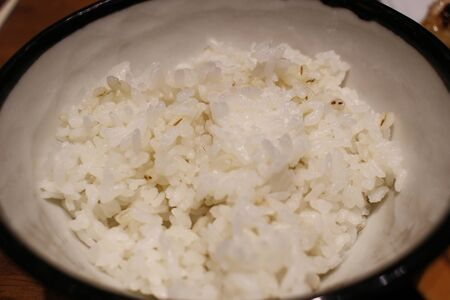 the  Bowl with cooked white Jasmine rice