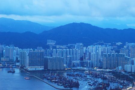 hk, skyline panorama from across Victoria Peak.