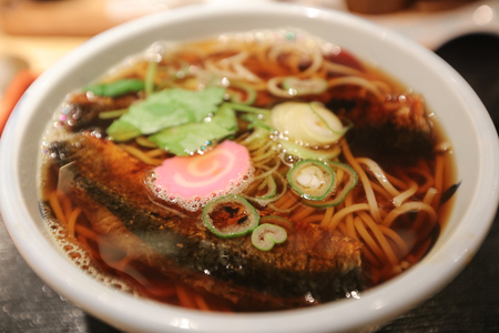 the Japanese buckwheat noodles in hot soup