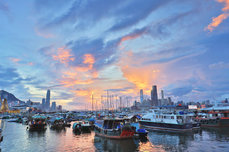 junk: view of Causeway Bay Typhoon Shelter. 2017 Editorial