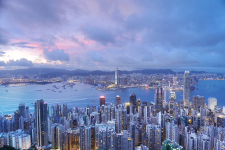 hk  night  Hong Kong Island business district Stock Photo