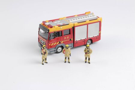 Fire man toy.figure at the board