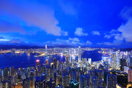 the Night iew of Hong Kong from Victoria Peak