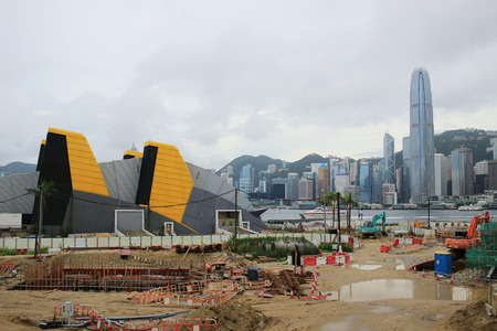 the Construction site of West Kowloon Cultural District Редакционное
