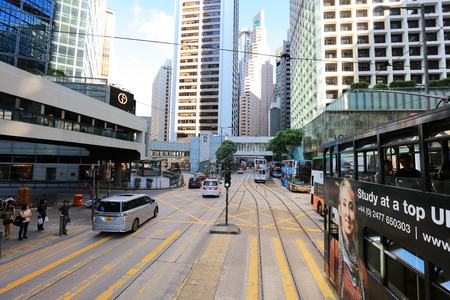At tram view of  sheung wan to central, hk Редакционное
