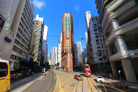hk cityscape view with famous trams at Wan Chai