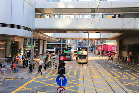 At tram view of  sheung wan to central, hk Editorial