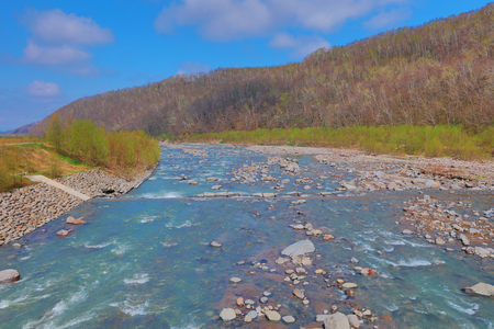 the river of Blue Pond Aoiike ,Biei Hokkaido Japan