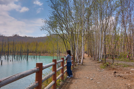 Famous sightseeing spots in Hokkaido, Blue Pond of Platinum Stock Photo