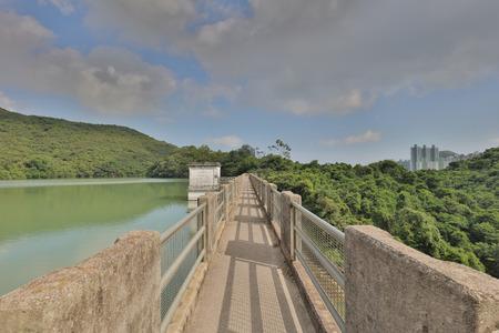 the dam wall and walk way of Aberdeen Reservoir