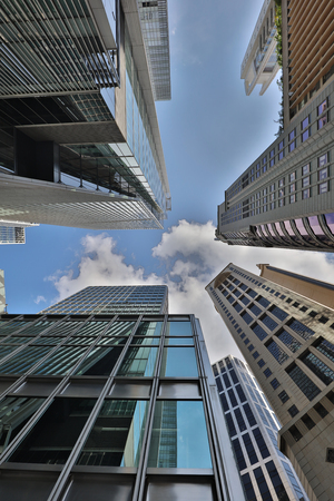the Low angle of office buildings in Hong Kong