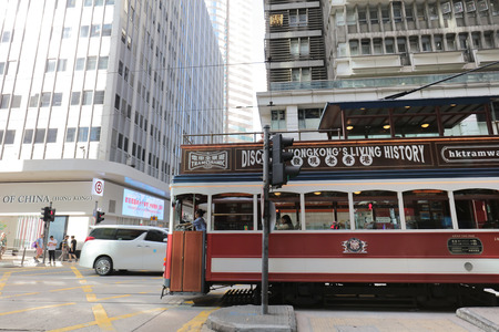 street photo showing the double decker trams at central