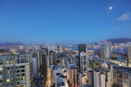 the city view from the roof of the building of kowloon