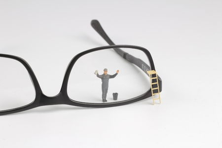 the Min worker clear reading glasses. Business concept