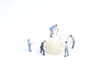 the mini of worker move the adhesive tape Stock Photo