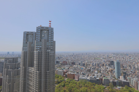 the Cityscape in Japan Tokyo Shinjuku wide angle Editorial