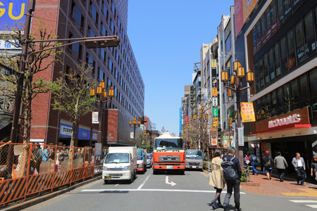 the People in Shinjuku, downtown Tokyo. at 2016