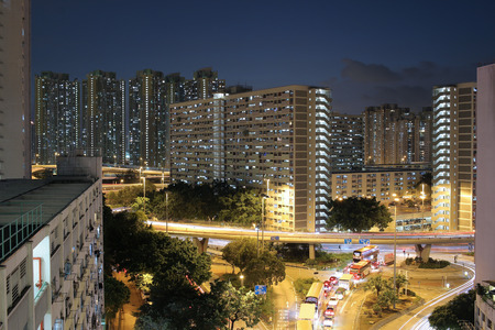 the Choi Hung district at night time Stock Photo