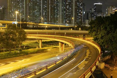 the night view Modern city traffic of highway and bridge